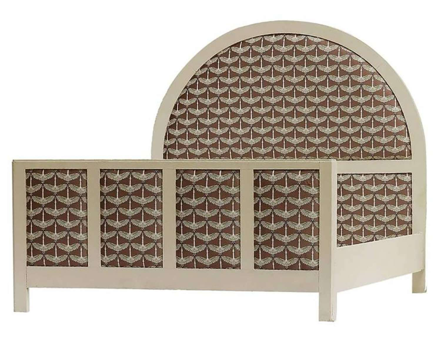 Art Deco Bed French Painted Upholstered US Queen UK King-Size Cranes
