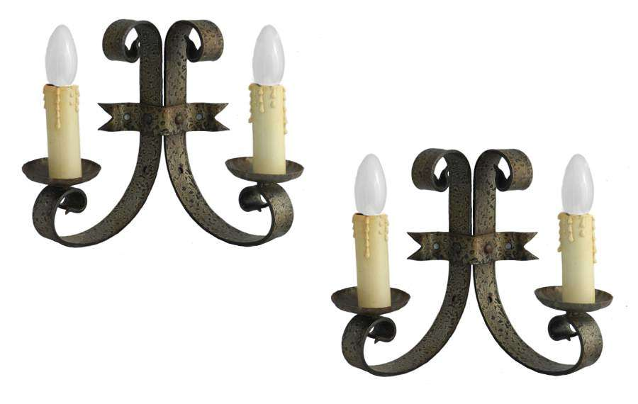 Pair Wall Lights Sconces Appliques Gothic Rev Iron Spanish Hollywood Regency