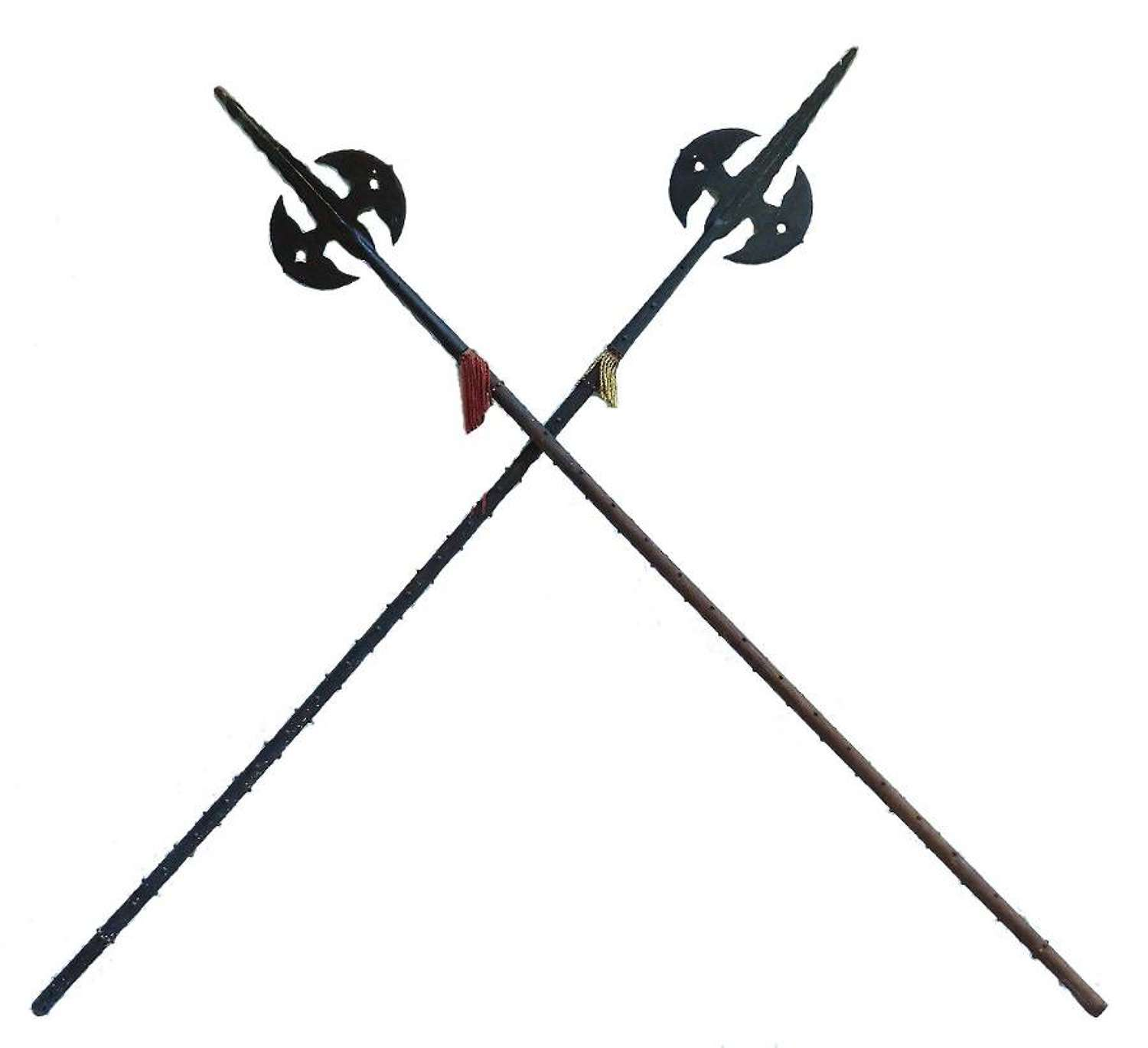 Pair of Antique Halberds Spears English Medieval Renaissance Wall Deco
