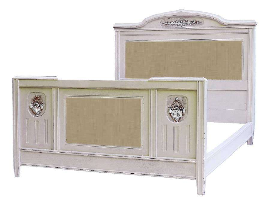 Art Deco French Bed US Queen UK King Painted Includes Upholstered Panel Recover