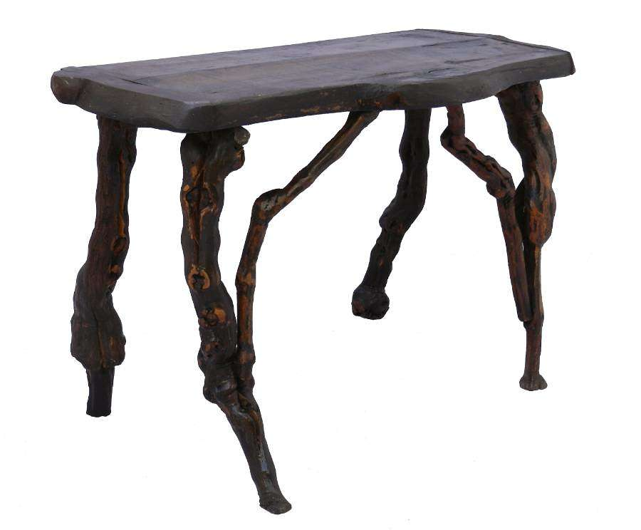 Console Side Table Olive Live Edge Antique Vine Root French