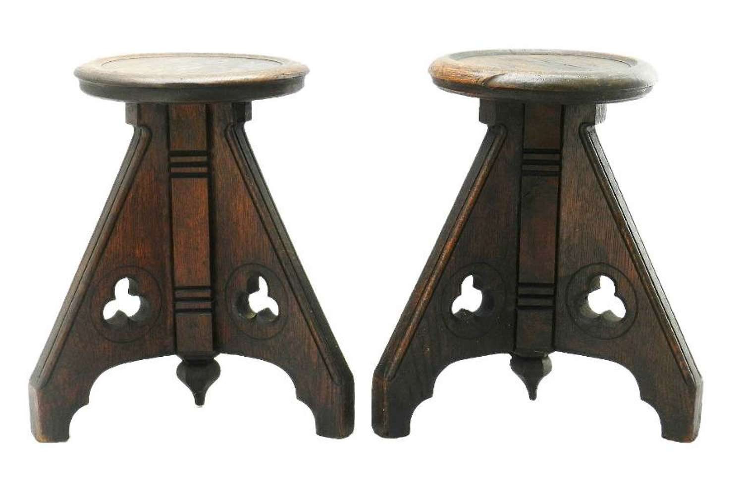 Pair of 19th Century Gothic Stools Side Tables Country House Oak French