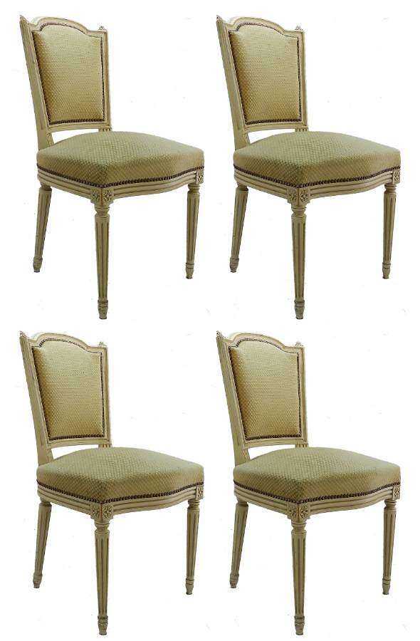 Four French Dining Chairs c1920 Louis XVI Revival Original Paint Upholstered