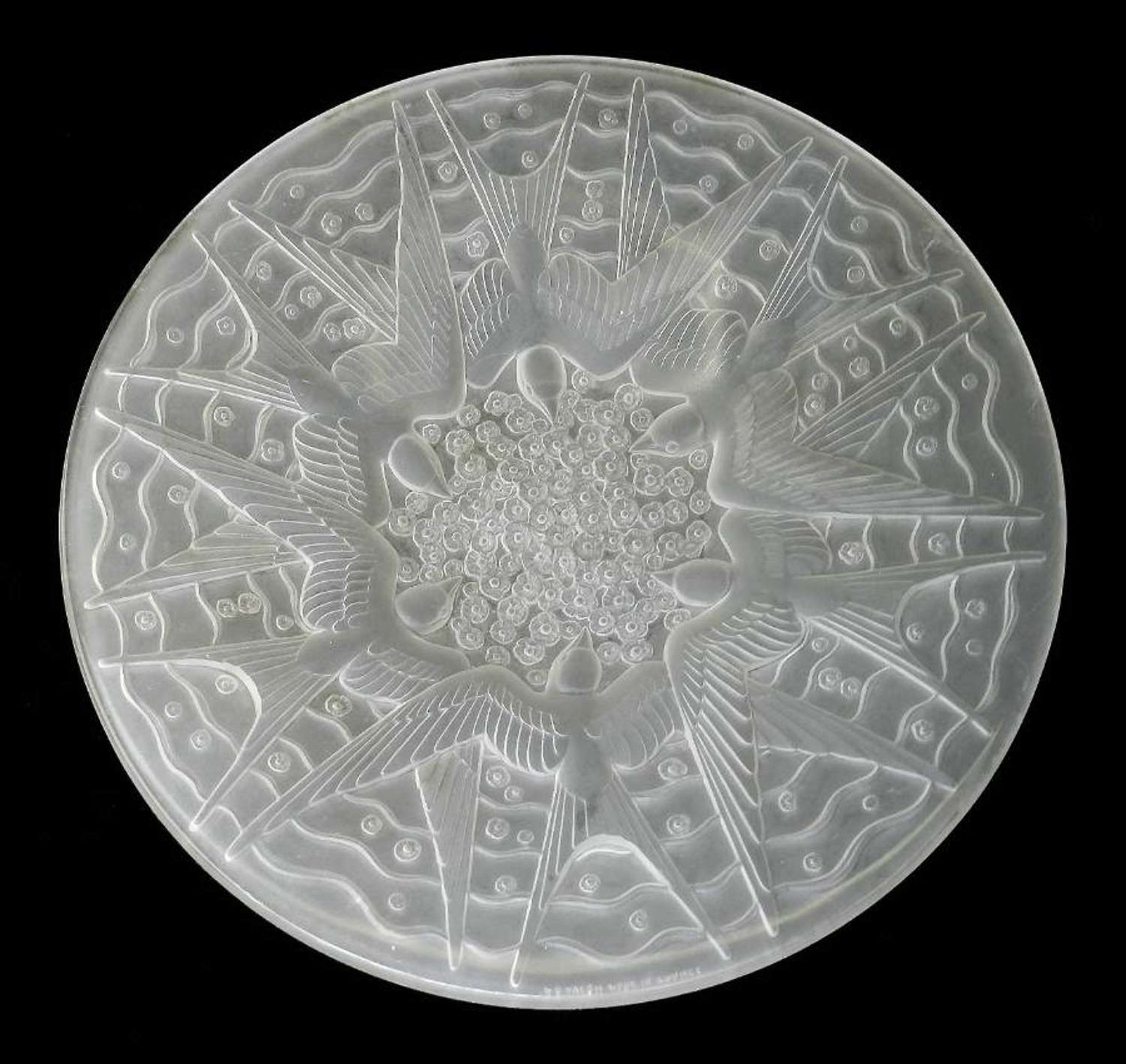 Opalescent Art Glass Center Bowl by P d'Avesn Swallows French Designer w Lalique