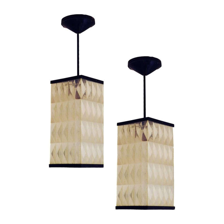 Pair of Midcentury Pendant Lights Opaque Molded Plastic Lanterns c1950-60