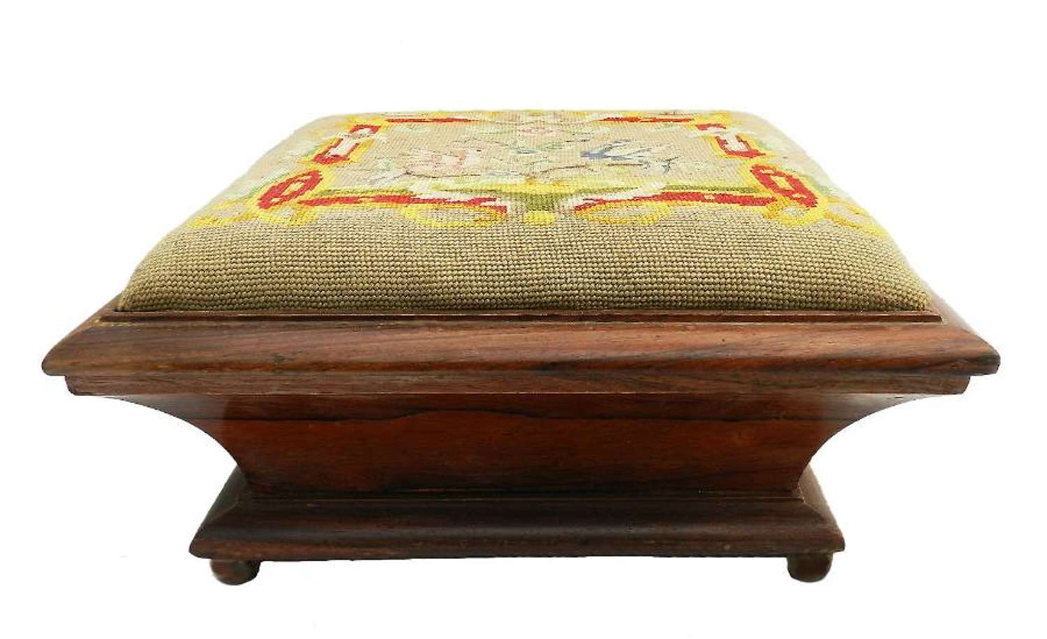 Antique Needlepoint Footstool French Belle Époque c1900