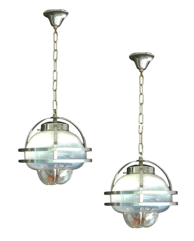 Pair of Murano Mazzega Pendant Lights Midcentury Chrome Glass