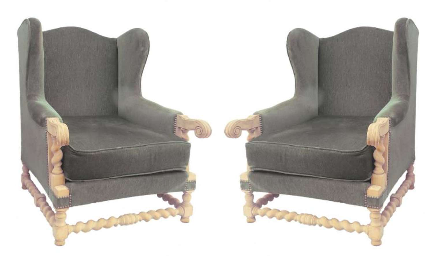 Pair of French Wingback Armchairs recovering included c1920