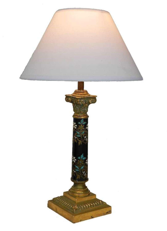 French Corinthian Column Table Lamp c1900