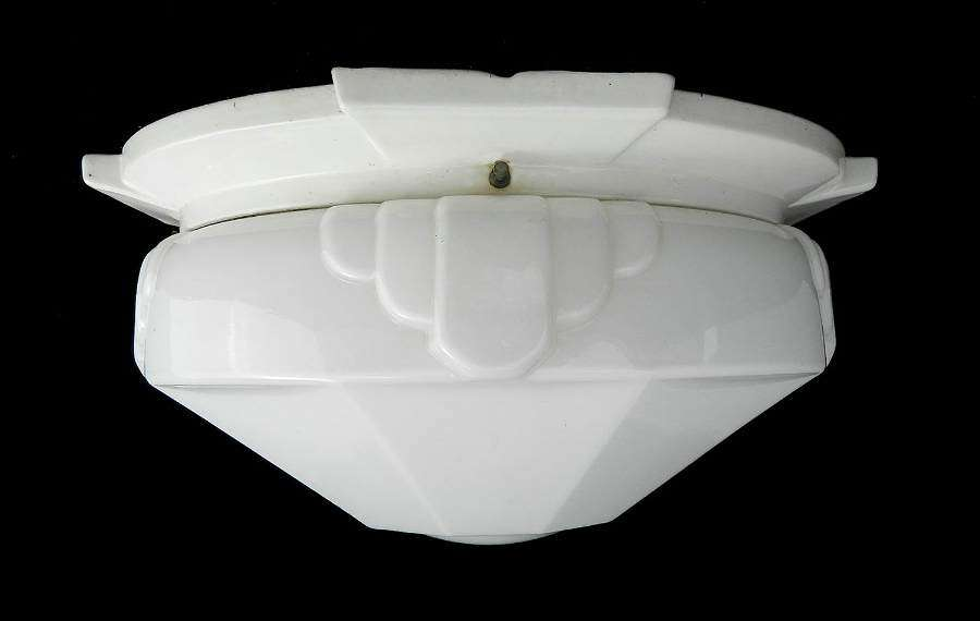 Art Deco Flush Mount Ceiling Light or Wall Light Large Odeon Glass Shade