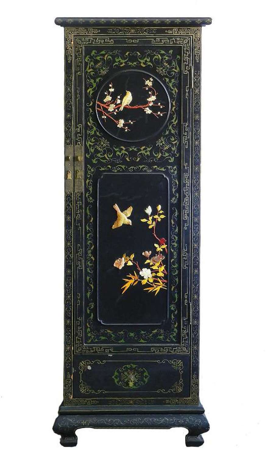 Chinoiserie Cupboard Wardrobe Lacquered with Carved Hardstone Chinese c1920