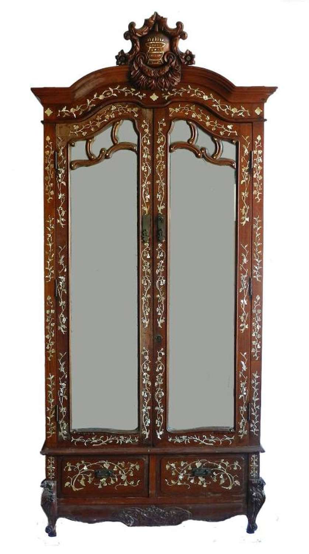 Chinoiserie Inlaid Armoire 19th Century Chinese Mirror Door Wardrobe