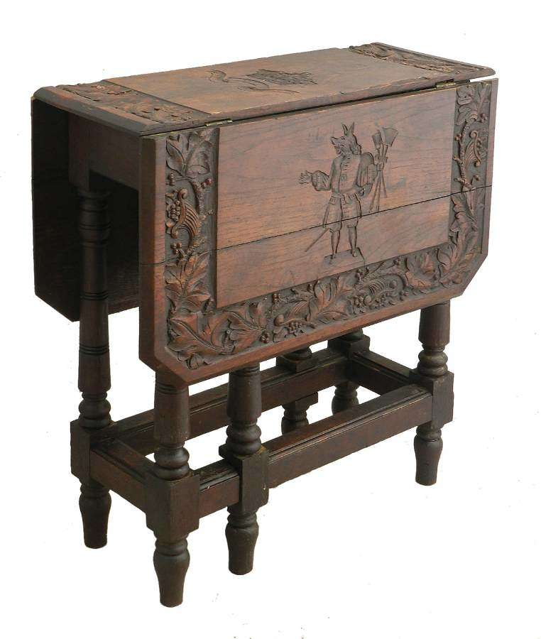 Carved Oak Table Gate Leg Drop Leaf William of Wykeham prov Winchester College