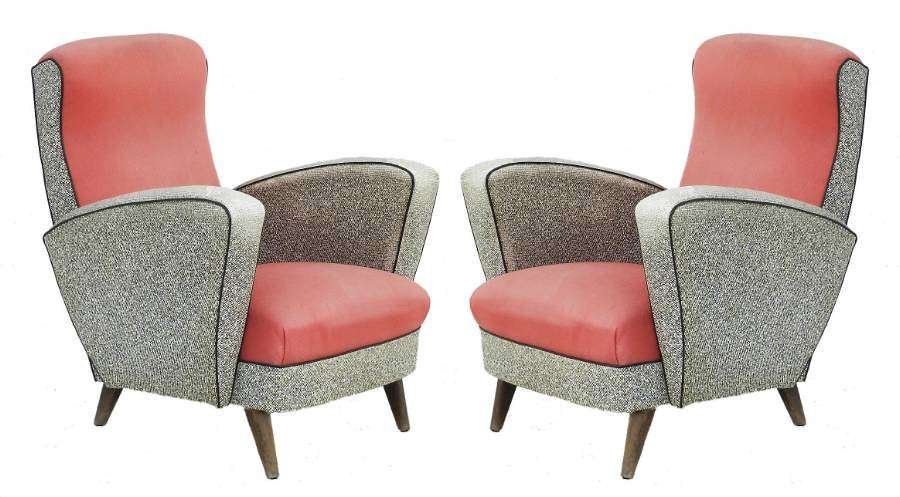 Pair Mid Century Lounge Chairs Original Condition French Armchairs