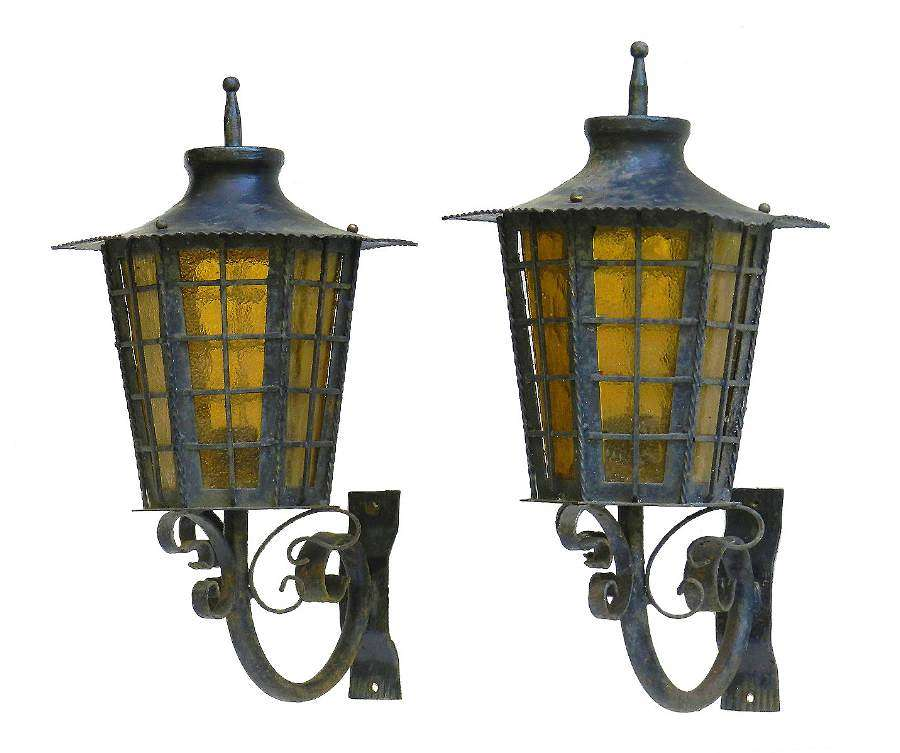 Pair of Outdoor Sconces Exterior Wall Lights Lanterns Iron Glass French c1920