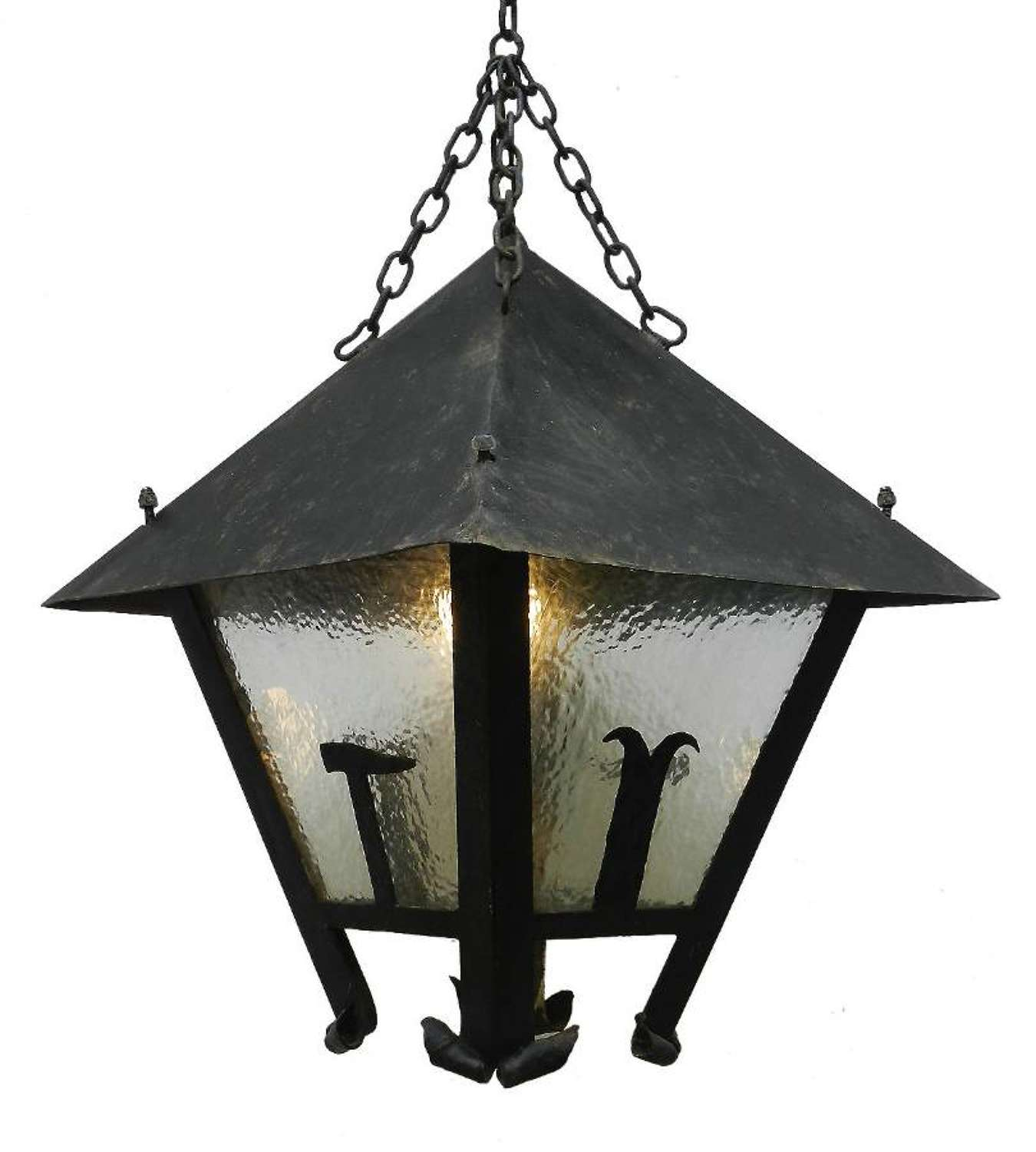 Large Lantern Outdoor Light French Arts and Crafts Iron Glass Exterior Porch