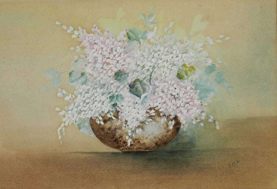 Flowers in a Bowl Watercolor English signed with artists initials 1905