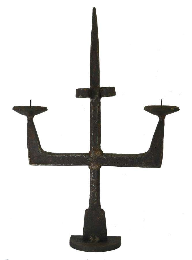 Antique Candlestick Primitive Brutalist Hand Forged Iron French 17th century