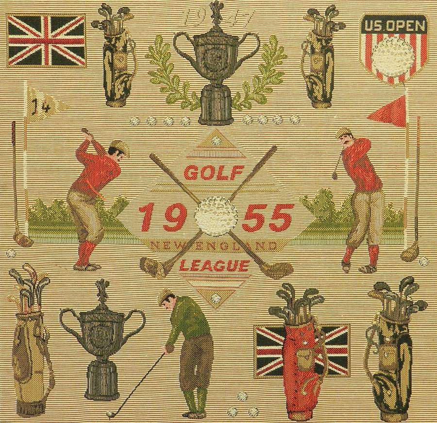 Midcentury Golf US Open Wall Hanging Commemorative Tapestry New England League