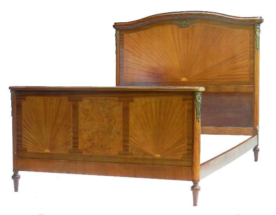 French Bed US Queen UK King size Louis XVI rev Sunray Marquetry Inlay