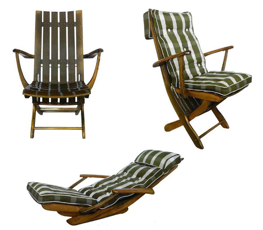 Midcentury French Adjustable Patio or Garden Furniture by Clairitex