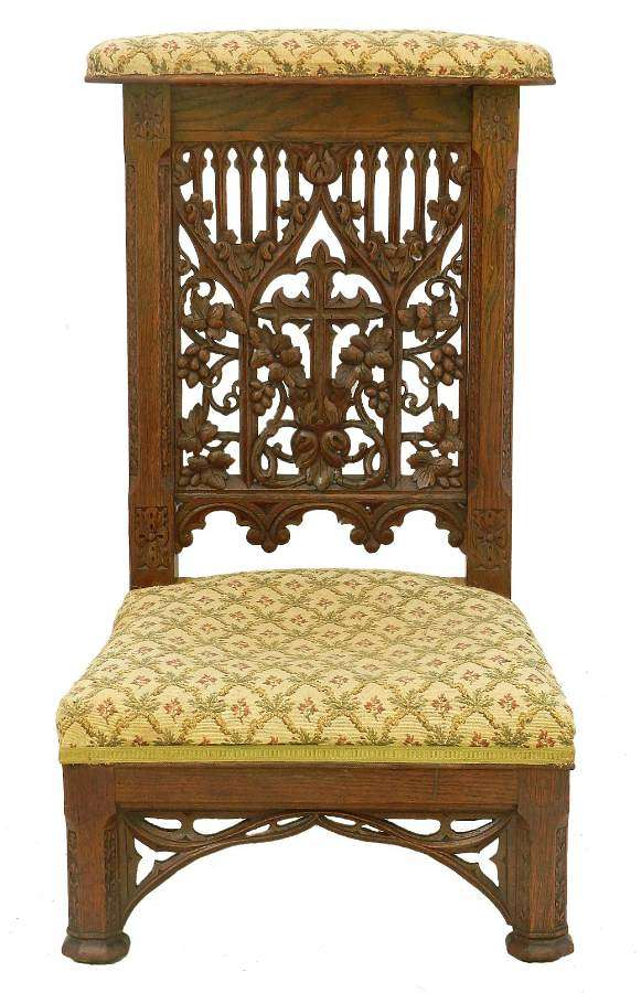 Gothic Revival Prie Dieu Side Chair 19th Century