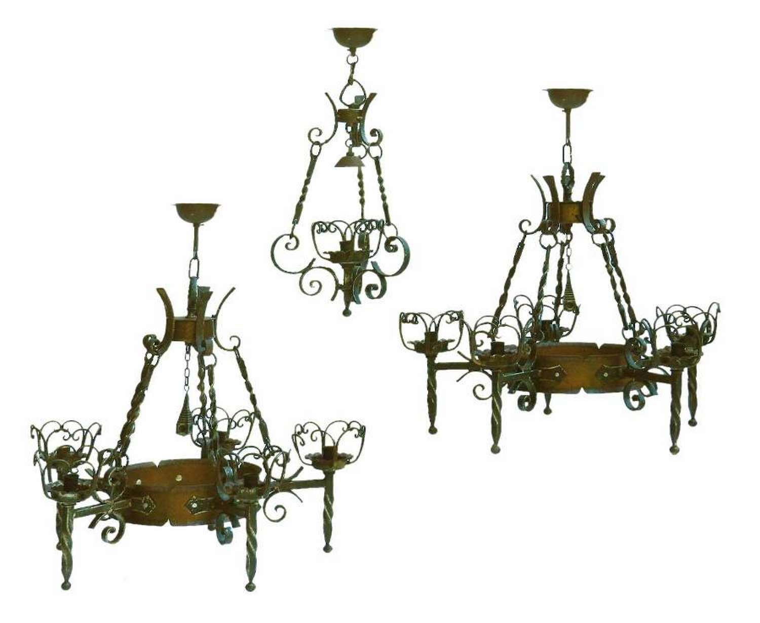 Three Wrought Iron And Copper Chandeliers Graduated French Basque