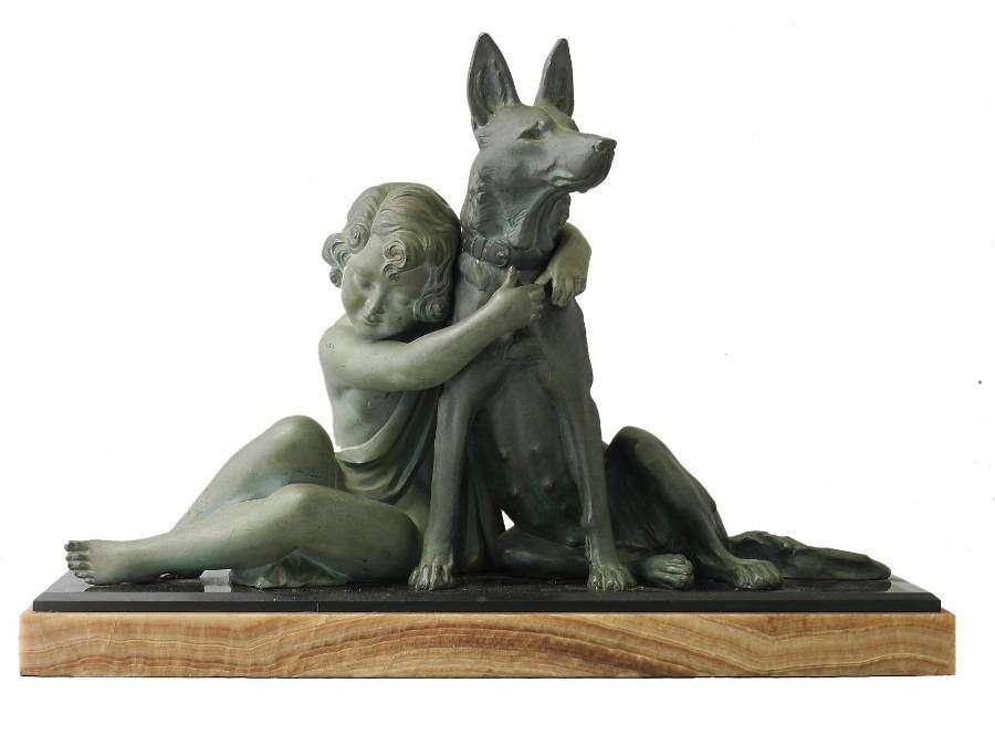Art Deco Sculpture Girl With German Shepherd Dog Armand Godard