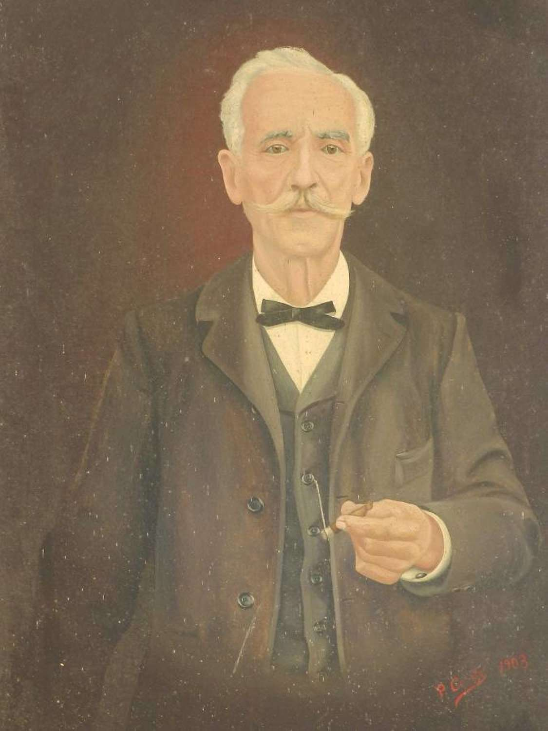 Oil Painting Portrait of a French Gentleman signed 1903