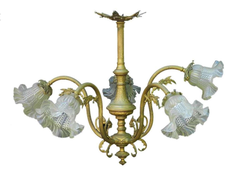 Belle Époque Chandelier Gilt Bronze Glass French Louis XV Revival circa 1900