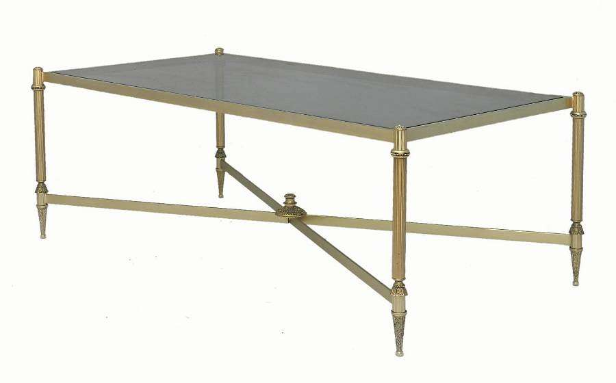 Mid century Coffee Table French Louis XVI rev Gilt Metal and Glass Maison Bagues