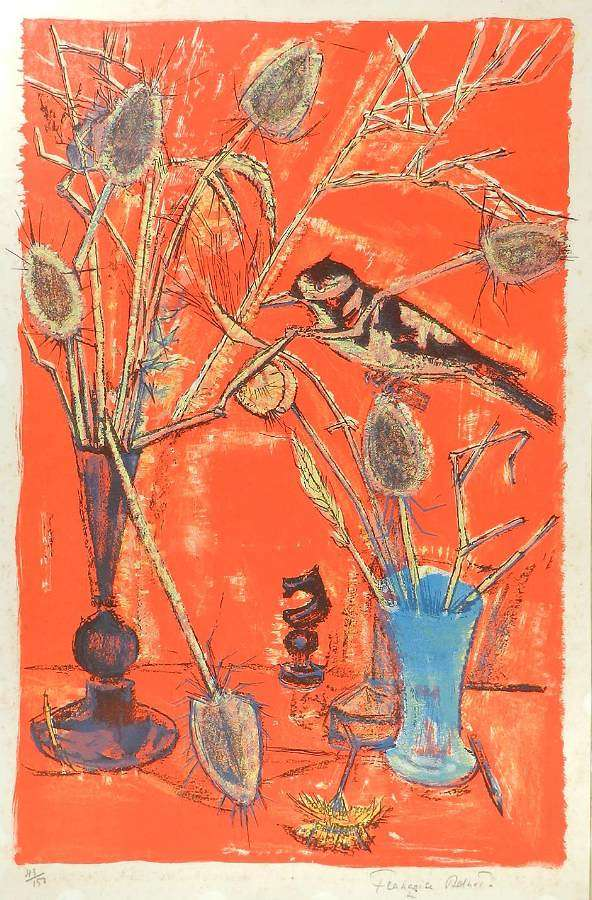 Francoise Adnet Lithograph signed Mid Century French c1950-60