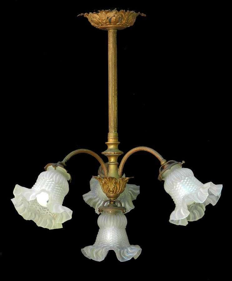 French Chandelier Gilt Bronze Glass Belle Epoque, circa 1900