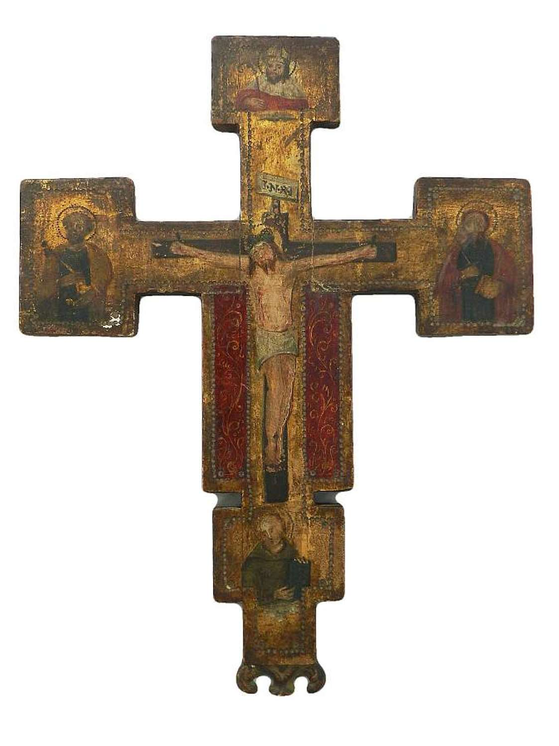 Russian Icon Painted Naive Crucifix Late 19th Century