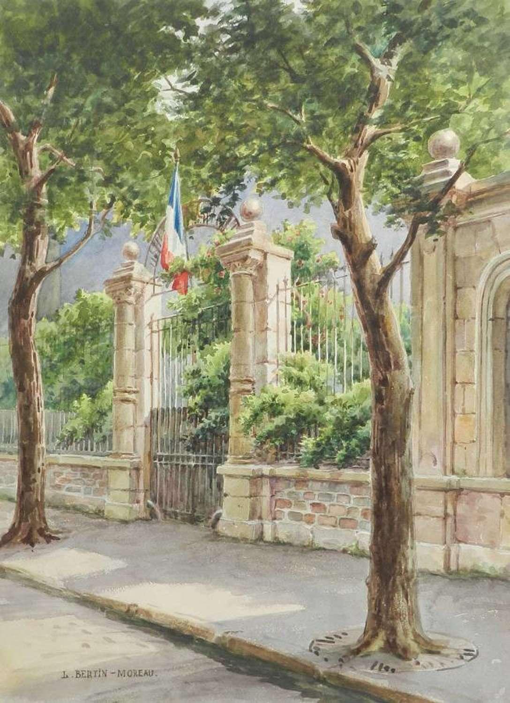 French School Gates Watercolour Painting c1936 signed watercolor Louis Bertin Moreau