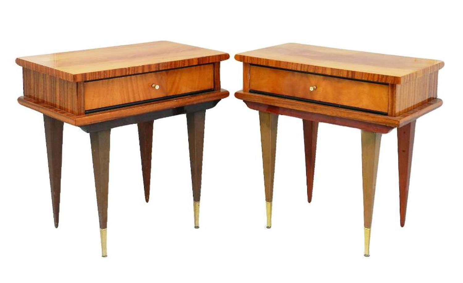 Pair of Nightstands Side Cabinets Bedside Tables French, Mid-Century