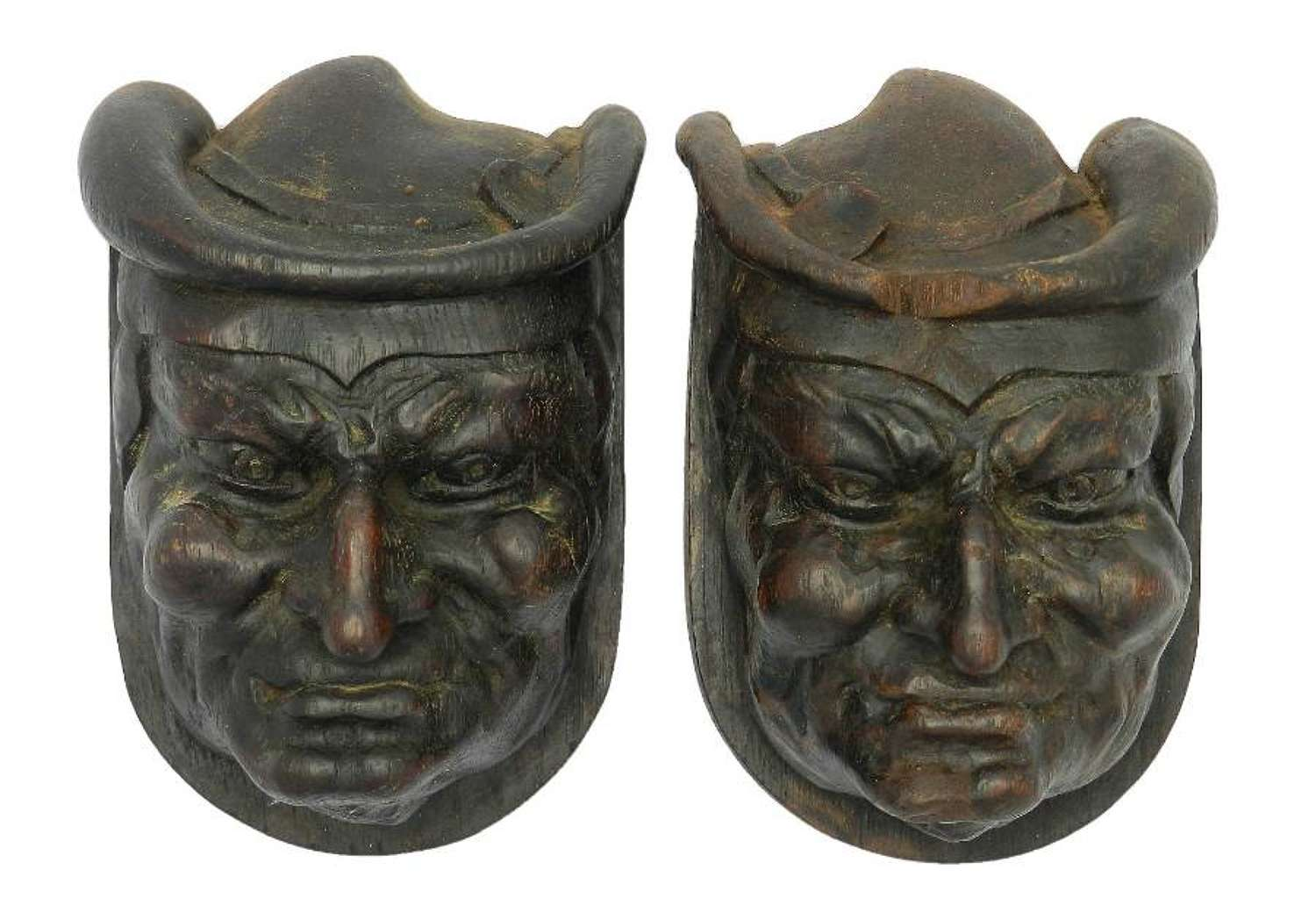 Pair Hand Carved Wood Heads French Gargoyle Antique Sculpture Gothic revival