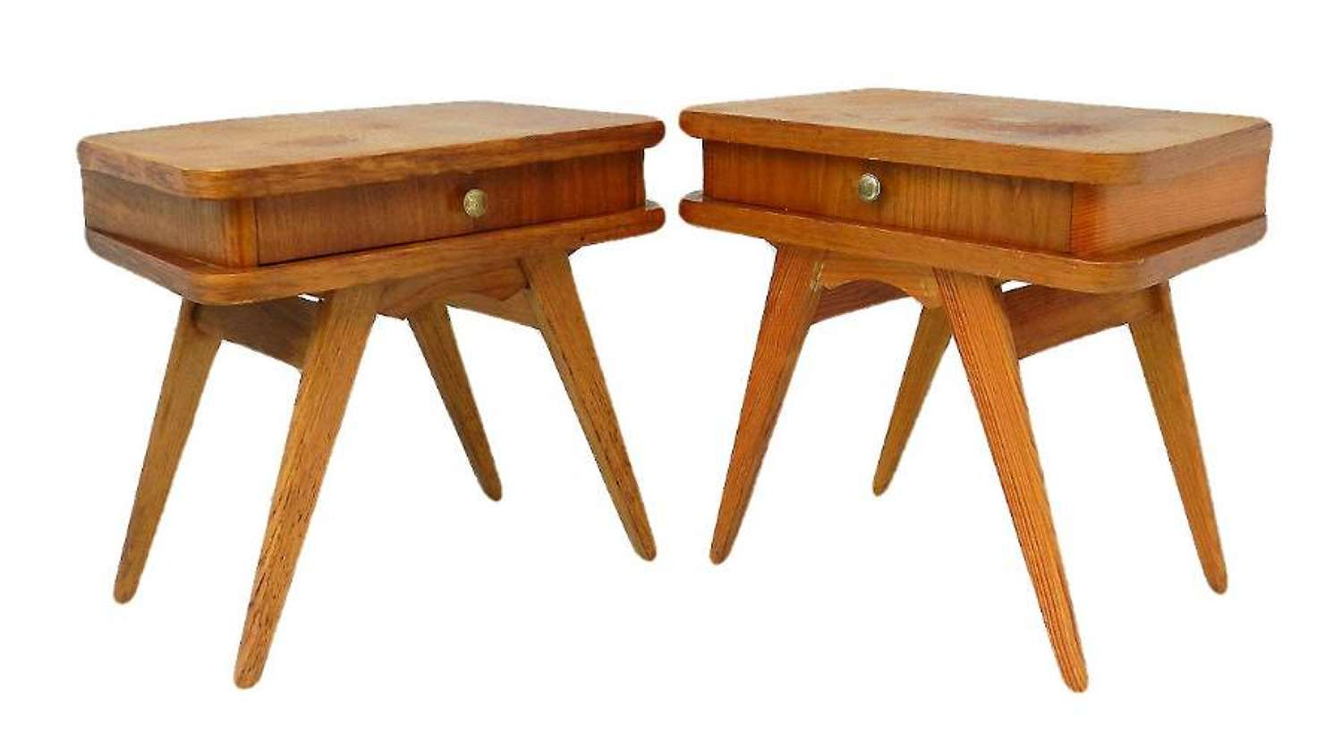 Pair Mid Century Nightstands Bedside Tables French c1950