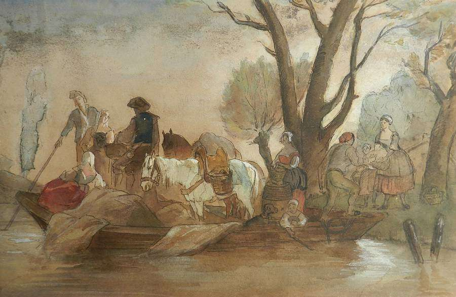 French 19th Century Watercolor Villagers At Waters Edge Atrb Jules Her