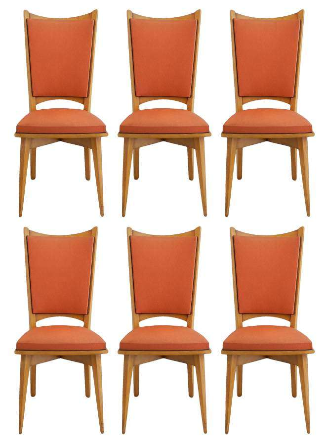 Six Mid Century French Dining Chairs all original in good condition