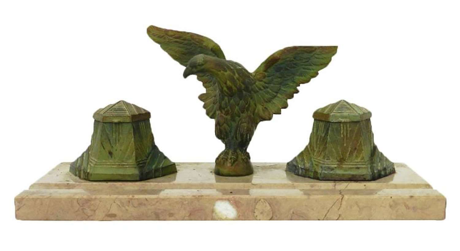 Art Deco Inkwell Eagle on Marble French Inkstand c1930