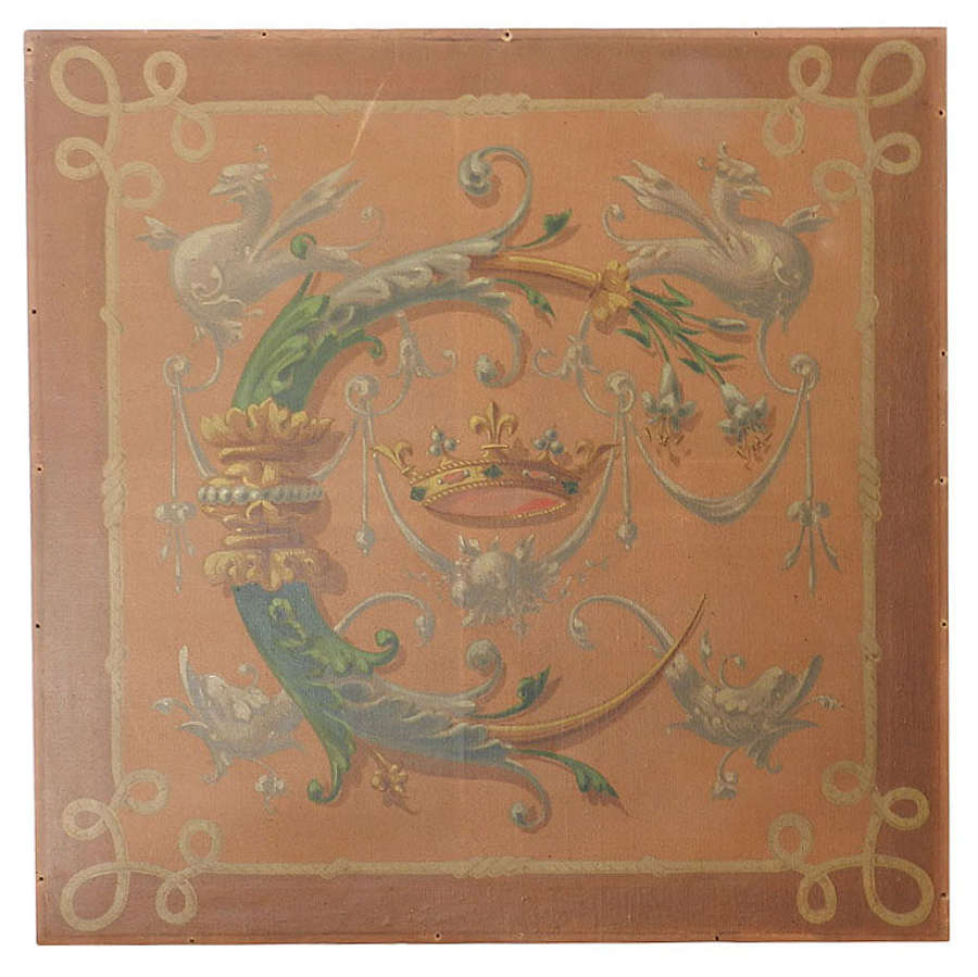 French 19th Century Painting Catherine de Medicis Emblems Decorative C