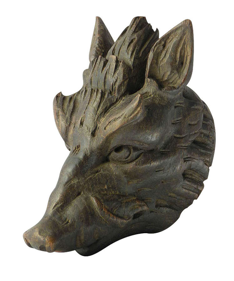 Antique Carved Wood Boar Head French c1890