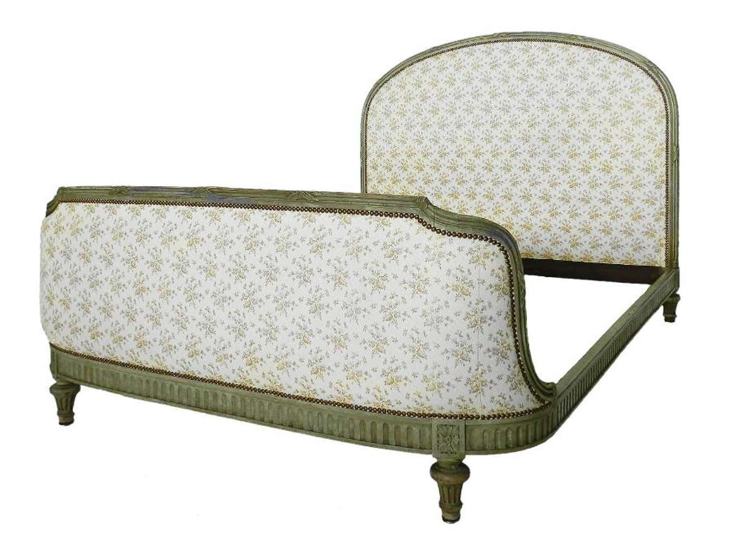 Antique French Bed US Queen UK King size includes recovering Louis XVI revival C1910