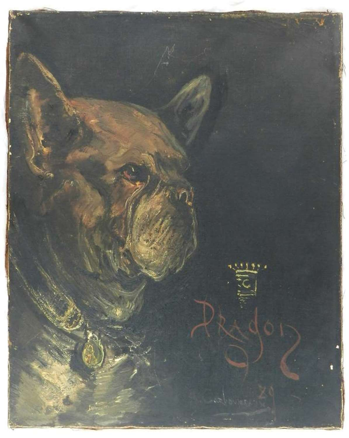 Portrait of a Dog called Dragon Oil Painting signed and dated 1929