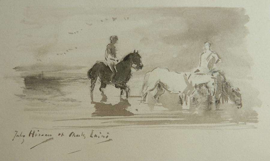 French 19th century Watercolor Sketch by Jules Hereau Study of Horses in Water