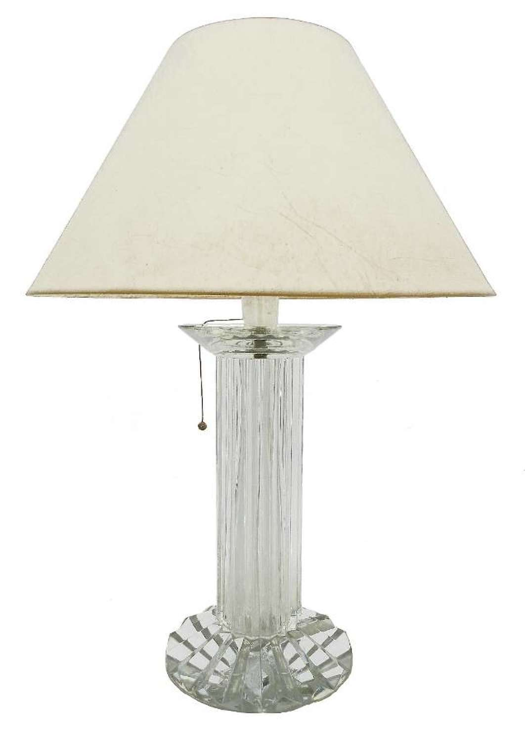 Baccarat Table Lamp French Mid Century Monumental Crystal Column