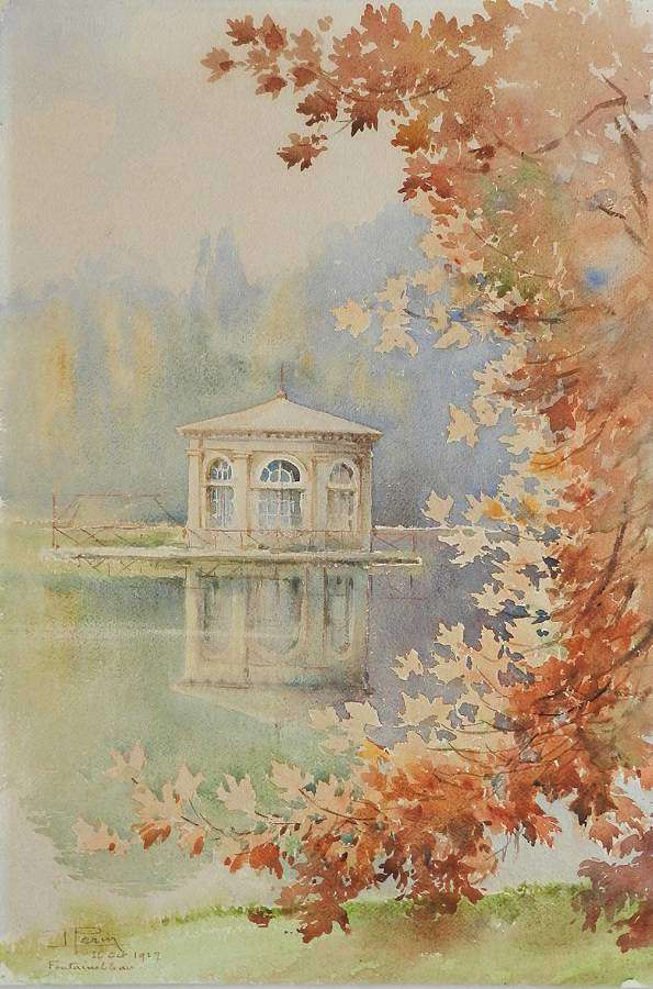 Fontainebleau Watercolor Painting French signed Louis Perin 1927