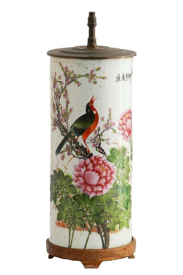 Chinoiserie Table Lamp Hand Painted Chinese Porcelain c1920-1930