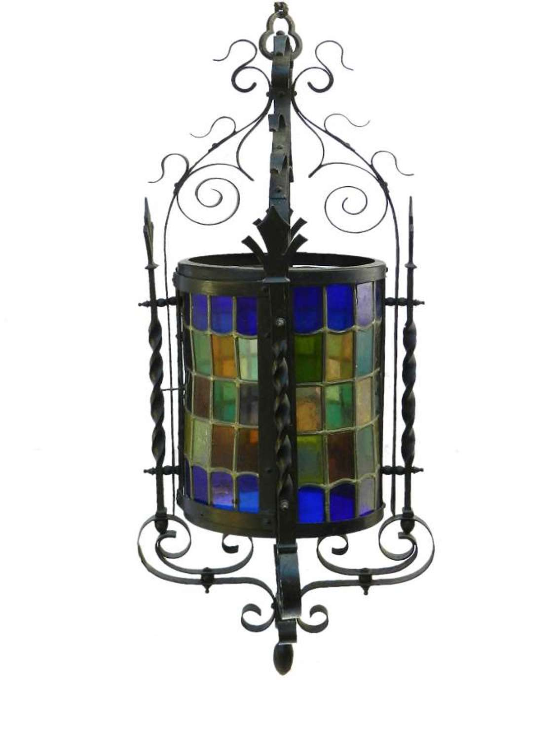 Arts and Crafts Lantern Gothic Revival Wrought Iron Leaded Lights
